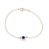 enameled blue station bracelet 14k gold