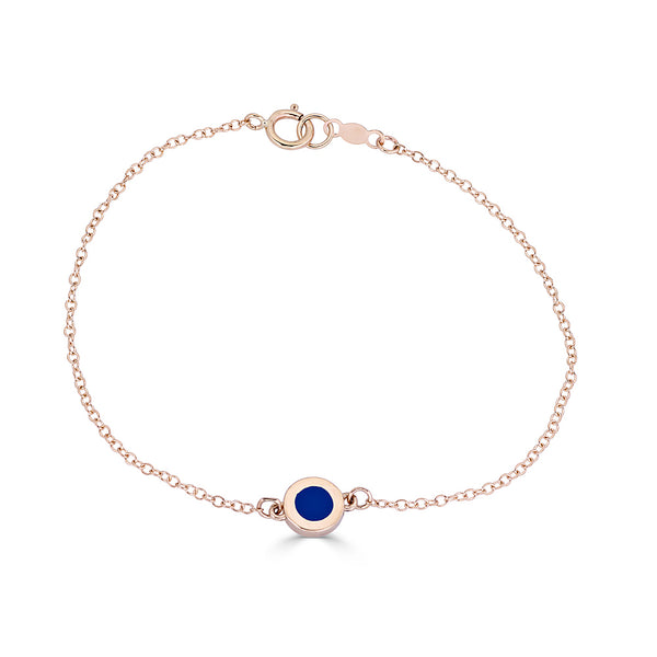 Bracelet with Blue Enamel Circle in Sterling Silver or 14K Gold