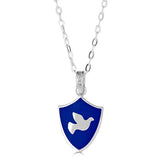 "Mini-sized ""Dove of Peace"" Enamel Pendant Necklace with Gemstone Accent Bail"