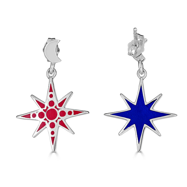 enamel star dangles on moon stud earrings in red and blue