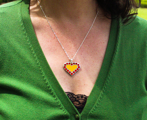 "Reversible Enamel Heart Design ""Dots Amore"" Pendant Necklace"