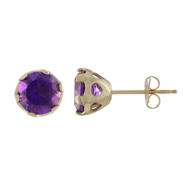 14k gold and amethyst earrings with pierced heart basket