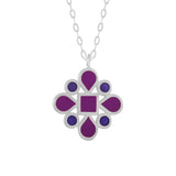 dark purple and blue enamel silver double-sided pendant necklace