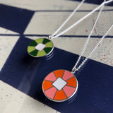 Reversible Wheel Design Silver Pendant in Two Color Ways