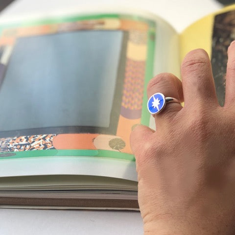 "Blue Transparent Enamel with ""North Star"" Design Ring"