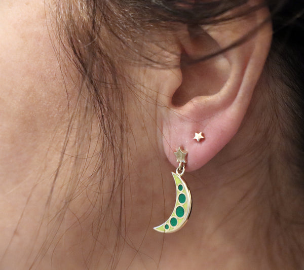 green and gold moon and star drop earrings