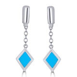 Blue Enamel Diamond Charm on Chain Silver Dangle Earrings