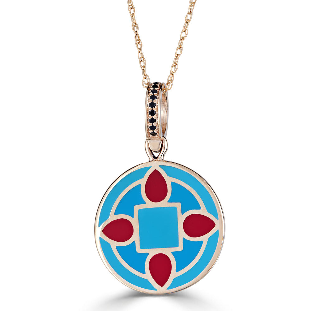 vintage verdura red and blue aqua enameled charm on onyx accent bail in 14k gold