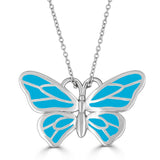 sterling silver enameled baby blue butterfly pendant on chain