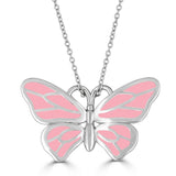 sterling silver pale pink enameled butterfly pendant on chain