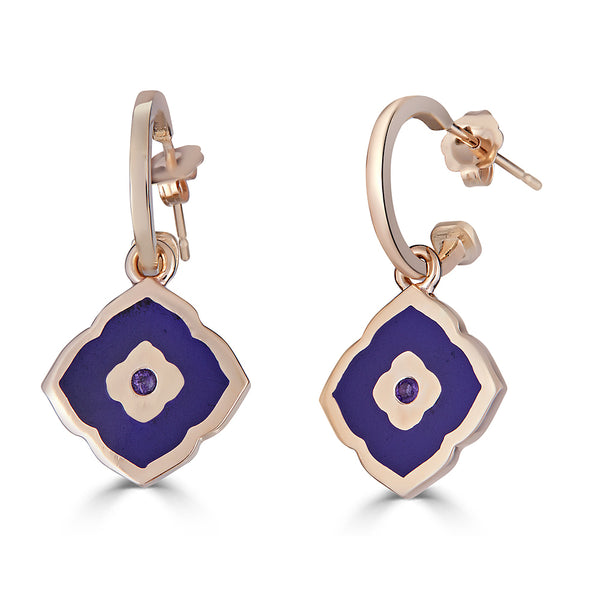 purple enameled Moroccan tile shaped charm on hoop earrings with amethyst