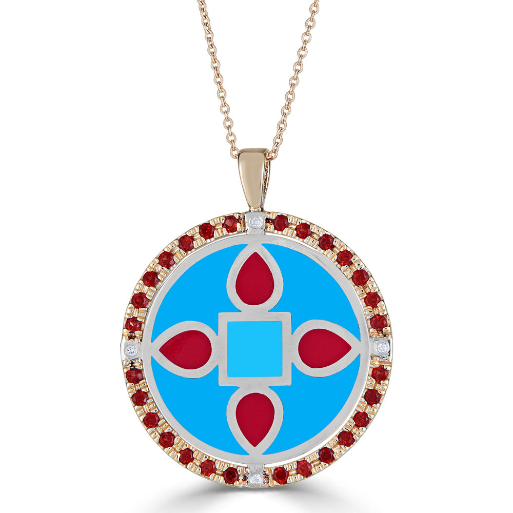 garent and diamond halo necklace with blue and red enamel center