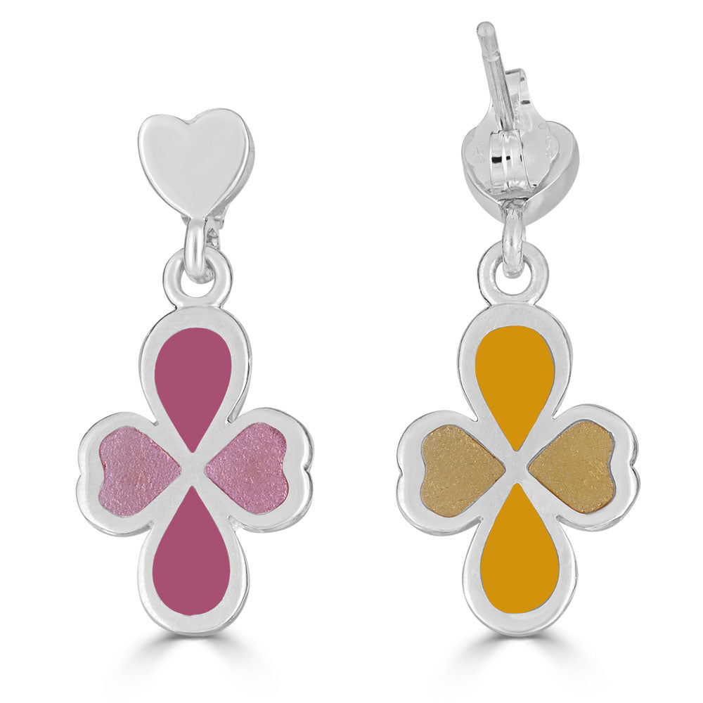 heart post earrings with clover drops in pink and yellow