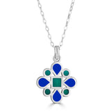 Stained-Glass Inspired Reversible Enamel Pendant Necklace on Gemstone Bail