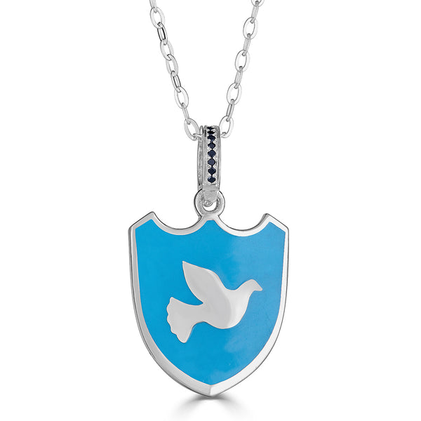 "Maxi-sized ""Dove of Peace"" Enamel Charm Necklace on Onyx Accent Bail"
