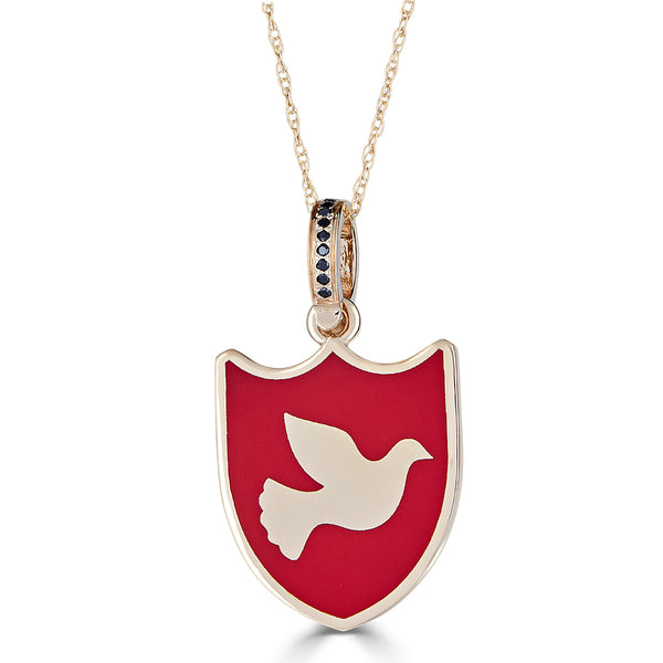 "Midi-sized ""Dove of Peace"" Enamel Charm Necklace with Onyx Bail"