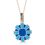 Reversible Enamel Sunburst Pendant Necklace on Onyx Accented Bail