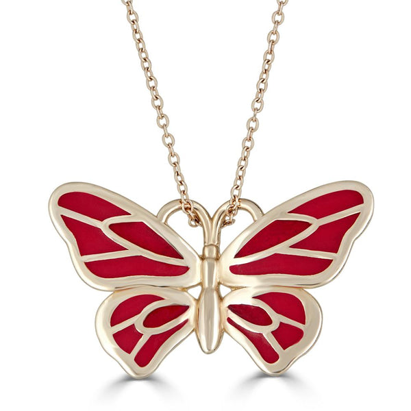 red enamel butterfly necklace in 14k