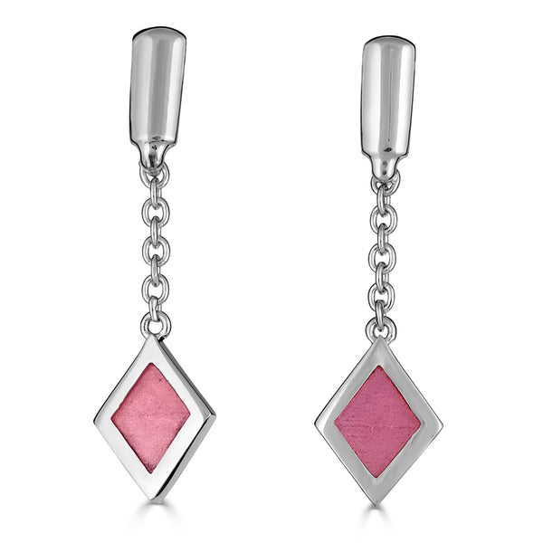 silver pink enamel diamond drop on delicate chain earrings