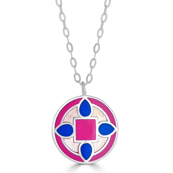 "Pink and Blue Silver Reversible ""Quatrefoil"" Enamel Pendant Necklace"