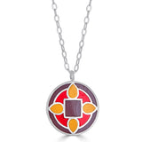 Tones of red and yellow enamel pendant necklace with quatrefoil design