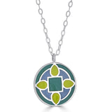green tone enamel necklace with quatrefoil design