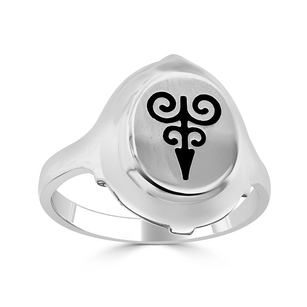 Signet Ring with Enamel Arrow Design in Sterling Silver