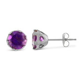 sterling silver and amethyst pierce heart stud earrings