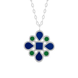 dark navy blue and kelly green enamel silver double-sided pendant necklace