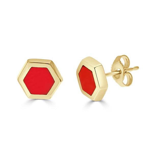 14k gold and red enameled hexagon post earrings