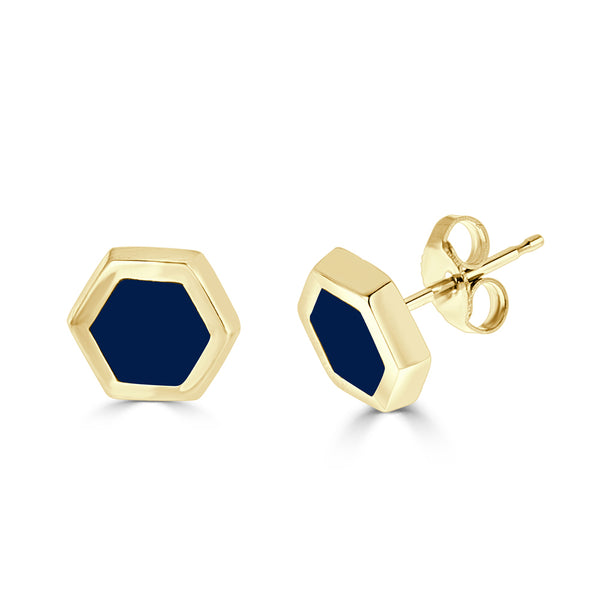 14k gold and navy blue enameled hexagon post earrings