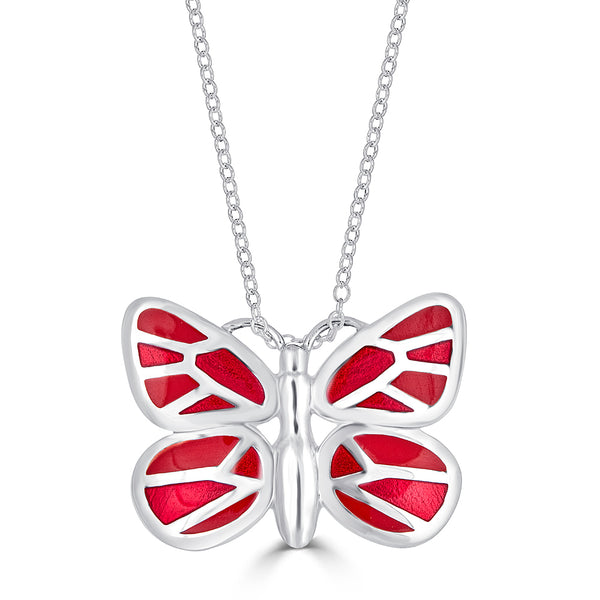 red enameled butterfly pendant