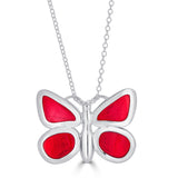 two-sided red enamel butterfly necklace