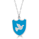 large shield pendant with peace dove in bright blue enamel field of color