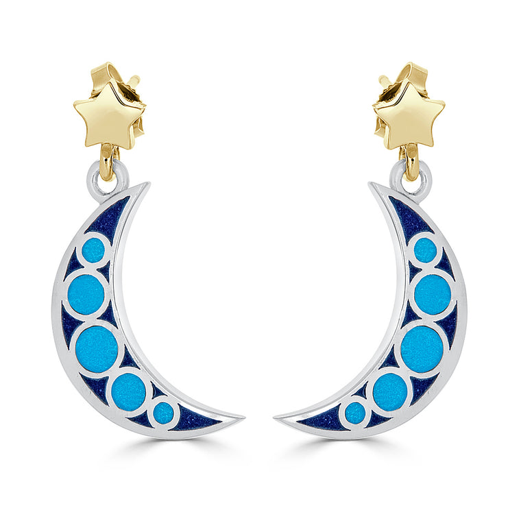 Mixed Metal Enamel Crescent Moon and Star Earrings