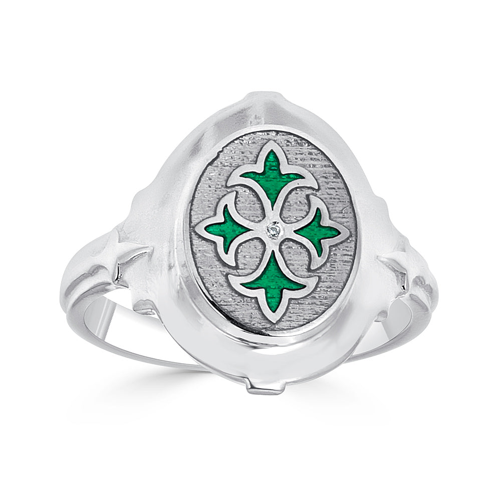 Quatrefoil Enamel Design Ring in Sterling Silver with Diamond Accent