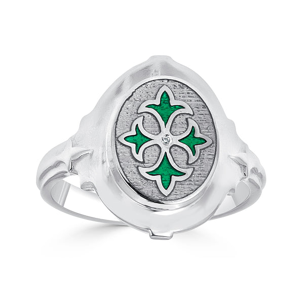 quatrefoil design in silver with green transparent enamel and diamond accent
