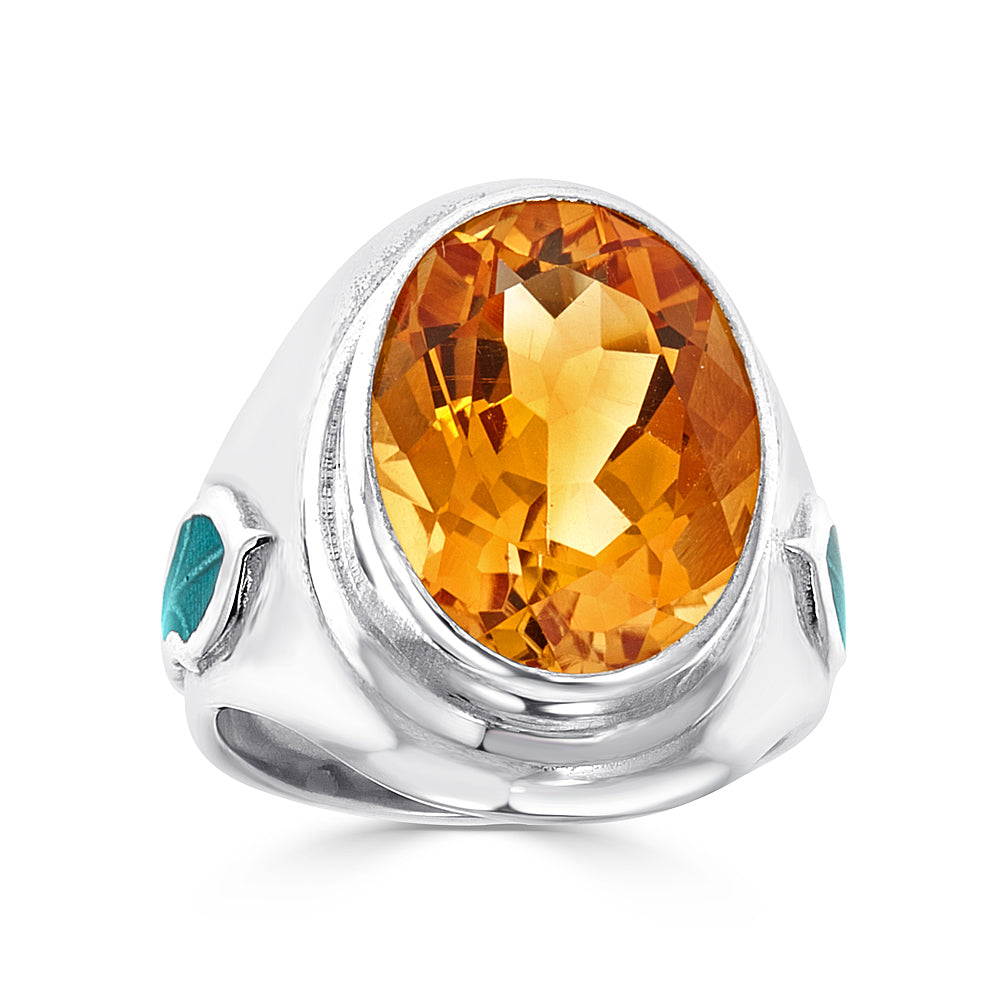 large faceted citrine one of a kind vine pattern with green enamel ring