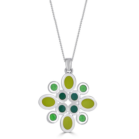 "Large Reversible Silver Colorful ""Flower"" Enamel Pendant Necklace"