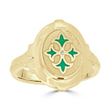 14k gold Medieval design enameled ring in green