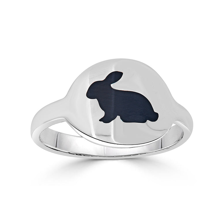 Black Enamel Intaglio Animal Cigar Band Style Ring