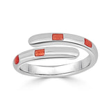 red striped twist ring with enamel
