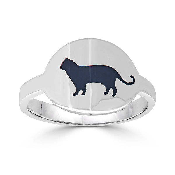 black enamel cat intaglio cigar band ring