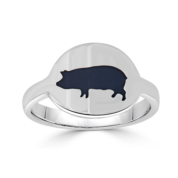 black enamel pig intaglio cigar band ring
