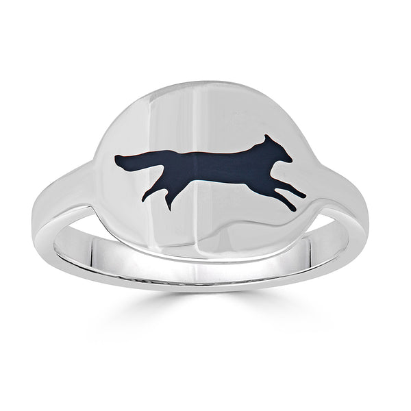 black enamel fox intaglio cigar band ring
