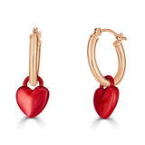 red e coated heart charms on 14k gold hinged hoops