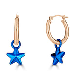 blue e coated star charms on 14k gold hinged hoops