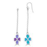blue and purple clover shaped drops on delicate chain earrings