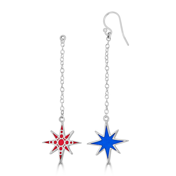 red and blue dangling earrings on silver chain