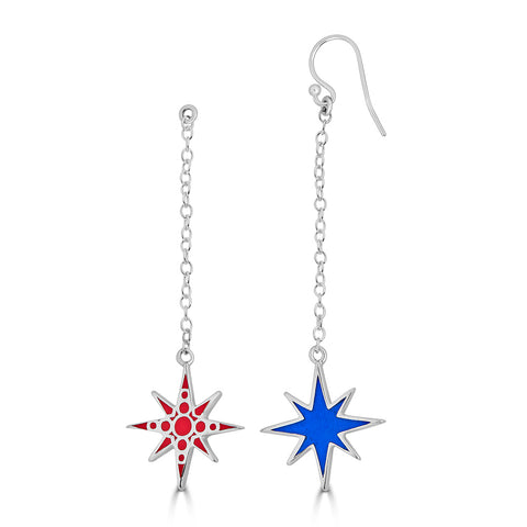 star dangling earrings in blue enamel